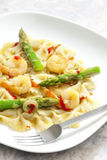 Pasta farfalle with asparagus Stock Photography