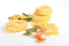 Pasta: farfalle and capellini Royalty Free Stock Photos