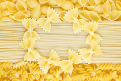 Pasta and farfalle frame Royalty Free Stock Images