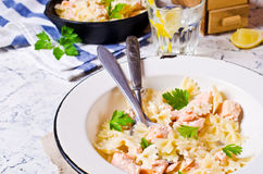 Pasta farfalle with salmon Royalty Free Stock Images