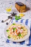 Pasta farfalle with salmon Royalty Free Stock Image