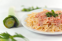 Pasta Farfalle with Salmon Sauce Stock Photography