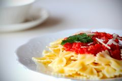 Pasta farfalle with tomato sauce Royalty Free Stock Photos