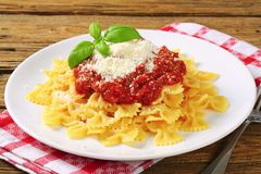 Pasta farfalle with tomato sauce and cheese Stock Photography