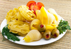 Pasta with fennel, parsley and olives Stock Photo