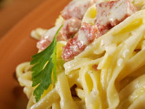 Pasta Fettuccine Alfredo Stock Photo
