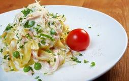 Pasta Fettuccine Alfredo Stock Images