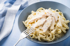 Pasta fettuccine alfredo with chicken and parmesan Royalty Free Stock Image