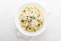 Pasta fettuccine alfredo with chicken, parmesan and parsley Royalty Free Stock Image