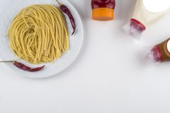 Pasta Fettuccine Bolognese with tomato sauce in white bowl. Top view.  stock image