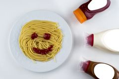 Pasta Fettuccine Bolognese with tomato sauce in white bowl. Top view stock photography