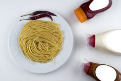 Pasta Fettuccine Bolognese with tomato sauce in white bowl. Top view.  stock photos