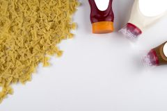Pasta Fettuccine Bolognese with tomato sauce in white bowl. Top view.  stock photography