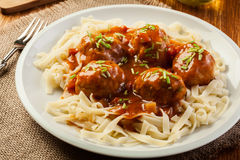 Pasta fettuccine and meatballs with tomato sauce Royalty Free Stock Photos