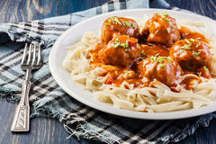 Pasta fettuccine and meatballs with tomato sauce Royalty Free Stock Photo
