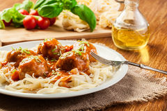 Pasta fettuccine and meatballs with tomato sauce Royalty Free Stock Image