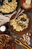 Pasta fettuccine with mushrooms and meat Stock Photos