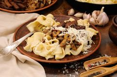 Pasta fettuccine with mushrooms and meat Royalty Free Stock Images