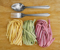 Pasta fettuccine and spoon set Royalty Free Stock Images