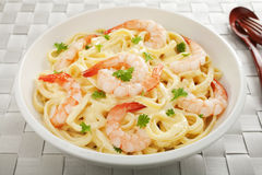 Pasta Fettucine Alfredo  with Shrimp or Prawns Stock Photos