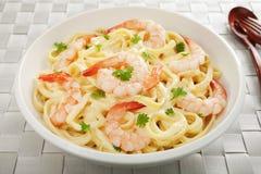 Pasta Fettucine Alfredo  with Shrimp or Prawns Stock Photos
