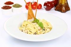 Pasta Fettucine Alfredo royalty free stock photography