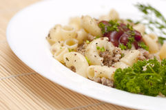 Pasta Fiottarini (pasta with fried meat) Royalty Free Stock Image