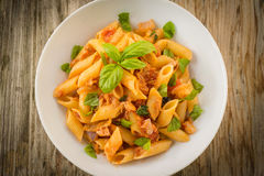 Pasta with fish ragout Royalty Free Stock Photography