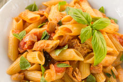 Pasta with fish ragout Royalty Free Stock Image