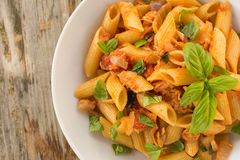 Pasta with fish ragout Stock Images