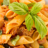 Pasta with fish ragout Royalty Free Stock Images