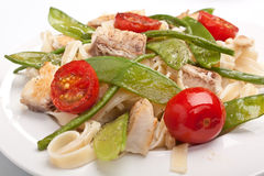 Pasta with fish and vegetables Stock Images