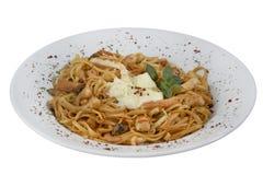 Pasta with fish. On white Royalty Free Stock Photos