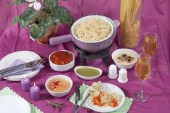 Pasta fondue Stock Image