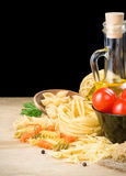 Pasta and food ingredient on black Stock Photography