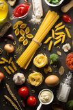Pasta and food ingredient on table Royalty Free Stock Photos