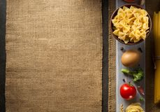 Pasta and food ingredient on table Royalty Free Stock Photo