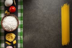 Pasta and food ingredient on table Royalty Free Stock Photography