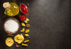 Pasta and food ingredient  on table Stock Photography