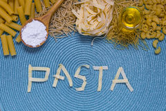 Pasta food lettering Royalty Free Stock Images
