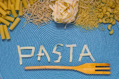 Pasta food lettering Royalty Free Stock Photo