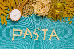 Pasta food lettering Royalty Free Stock Photography