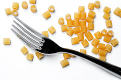Pasta and fork Stock Images