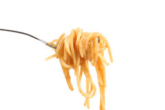 Pasta on fork Stock Photography