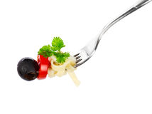 Pasta on a fork Royalty Free Stock Images