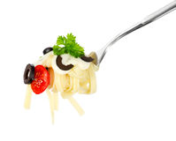 Pasta on a fork Royalty Free Stock Photos