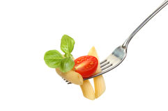 Pasta on fork. Penne pasta with tomato and basil leaves on a fork isolated against white stock photo