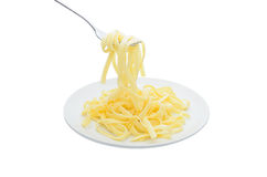 Pasta on fork Royalty Free Stock Photo