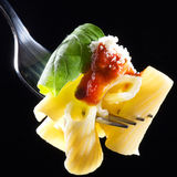 Pasta on fork Royalty Free Stock Images