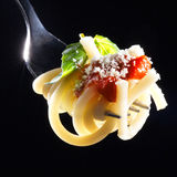 Pasta on fork Stock Image